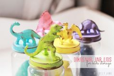 Make Dinosaur Jars - these would be cute favor jars, with toys candy or playdoh ;) in them. Cute technique to use if there is a little toy that matches the theme of your party - girls or boys