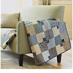 Past and Present Quilt Use strong graphic prints of the 1800s in this easy-to-piece contemporary quilt. Dark blue and neutral-color reproduction prints in a wide range of hues, scales, and geometric patterns hearken back to the Civil War era.