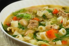 ... beans 1 cup uncooked soup size pasta 4 cups chicken stock season with