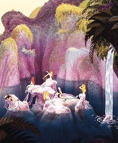 Mermaid Lagoon in Disney's Peter Pan Disney Pixar, Walt Disney, Animation Disney, Disney Home, Disney Dream, Disney And Dreamworks, Disney Magic, Disney Art, Disney Movies