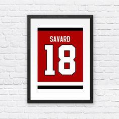 Denis Savard Number 18 Chicago Blackhawks Jersey Art Print | Mancave Wall Art | NHL Memorabilia | Perfect Gift for Hockey Fan