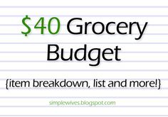 Simple Wives: $40 Grocery Budget (item breakdown, tips and more!)