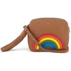Anya Hindmarch Cara Rainbow Leather Crossbody Bag ($1,235) ❤ liked on Polyvore featuring bags, handbags, shoulder bags, apparel & accessories, caramel, leather shoulder handbags, brown crossbody purse, brown leather crossbody, crossbody purse and leather purse