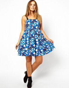 Image 4 of ASOS CURVE Premium Floral Skater Dress With Buckle Straps