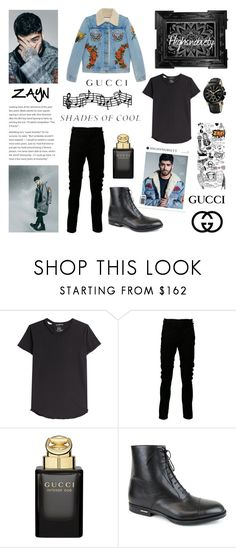 """ZAYN - (Highsnobiety Magazine) [2016]"" by amber-the-stylist ❤ liked on Polyvore featuring Alexander McQueen, Julius, Gucci, Linda Horn, men's fashion and menswear"