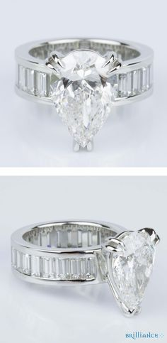 Custom Pear-Cut Diamond & Baguette Eternity Engagement Ring