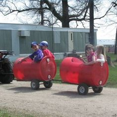 Trailers made from plastic barrels.