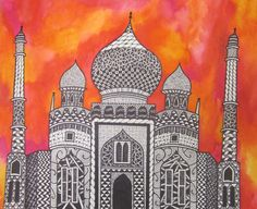 One of my teacher examples for Zentangle Castles with WatercolorLesson, Brookland Middle School