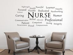 Check out Nurse Vinyl Wall Decal Nursing Wall Art Handmade Vinyl Wall Art Custom Orders Custom Vinyl Decals Custom Art Word Cloud Decal Student on inspirationwallsigns Wall Decal Sticker, Vinyl Wall Decals, Nurse Decor, Eco Friendly Paint, Nurse Office, Creative Walls, Nurse Gifts, Wall Quotes, Wall Signs