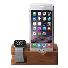 Juzi Apple Watch and iPhone Charging Stand, iPhone and iWatch Bamboo Wood Charging Stand Station Dock Platform for iPhone 6 / iPhone 6 Plus / iPhone 6s / iPhone 6s Plus / iPhone 5 5s 5c