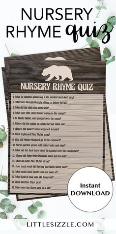 Popular baby shower game by LittleSizzle. Play Nursery Rhyme Quiz at your baby shower with this rustic wood printable game! This game is perfect for any woodland or adventure themed baby shower to celebrate the little cub on the way. WOW your guests and the mom-to-be with your brown baby bear games with woods background. This game is SO much fun and you will easily entertain large groups of guests. Simply download and print. #babyshowergames #babyshowerthemes #babyshowerideas #DIY #printable