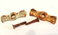 2 Antique BowtieTurn Latches Wing Nut Iron and Slot Screws Rustic Jelly Cupboard