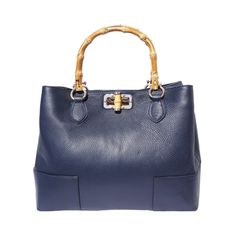 Italian Leather Collection  Fabrizia  Italian Pebbled Leather Handbag  Bamboo Handles Purses And Handbags bc24771763e50
