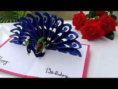 DIY - How To Make Peacock Pop up Card-Paper Crafts-Handmade Craft- Birthday Day card! Decorative Paper Crafts, Paper Crafts Origami, Handmade Birthday Cards, Greeting Cards Handmade, Happy Mom Day, Pop Out Cards, Diy Tassel Garland, Paper Pop, Fancy Fold Cards
