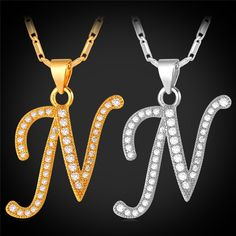 Capital Initial Letter N Necklace Women Valentines Platinum / Gold Plated Alphabet Letter Charm