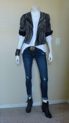 Daily Look: CAbi Fall 13 Runway Blouse,  Mockingbird Jacket and Signature Belt with destroyed skinny jeans and booties.