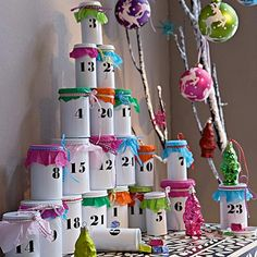 DIY tin can Advent calendar