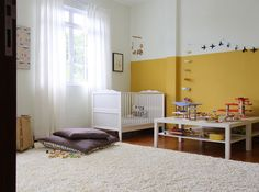 really like the sweet simplicity of this room - and the wall color only going up half of the wall and the play table