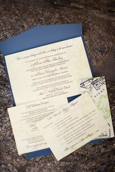 Our wedding - travel themed invitations.