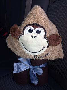 Monkey embroidery appliqué hooded towel.