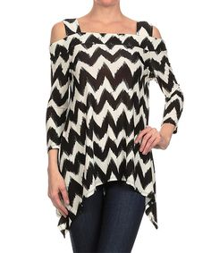 Look at this Karen T. Design Black & White Zigzag Cutout Sidetail Tunic - Women on #zulily today!