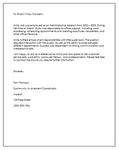 Employee Recommendation Letter   Nats    Employee