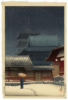Tenno Temple, Osaka--Kawase Hasui #Hasui #Tenno 1927