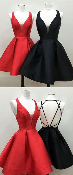 Gorgeous V Neck Mini Prom Homecoming Dress Fuchsia Party Formal Gown mini Prom dress #dress #gown #prom #prom2018 #promdress #promgown #formaldress #formalgown #party #red #black #hoemcoming