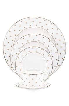 Crushing on this set of dishes by Kate Spade with signature platinum polka dots.