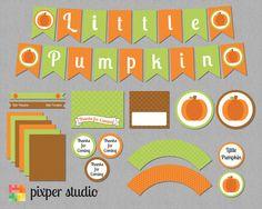 Super cute INSTANT DOWNLOAD  Little Pumpkin Baby Shower by PixperStudio