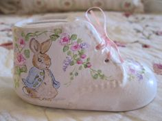 Hand Painted Porcelain Baby Shoe - cutest baby shoe ever!!  it is also a bank and has a place to put your childs picture in! - only $18.99 - http://www.ebay.com/itm/161861036478?ssPageName=STRK:MESELX:IT&_trksid=p3984.m1555.l2649