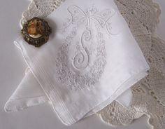 Monogram S Vintage Wedding Handkerchief in by GreenbriarCreations