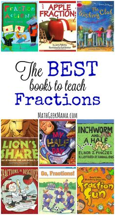 This fun list of children's books includes a variety of books and free lessons to teach and explore fractions! Use these books to introduce fractions, or explore more difficult concepts such as adding and comparing fractions, or making equivalent fraction Multiplication, Math Fractions, Equivalent Fractions, 3rd Grade Fractions, Dividing Fractions, Comparing Fractions, Teaching Fractions, Teaching Math, Teaching Ideas