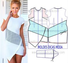 MOLDE VESTIDO ASSIMÉTRICO -222 - Moldes Moda por Medida
