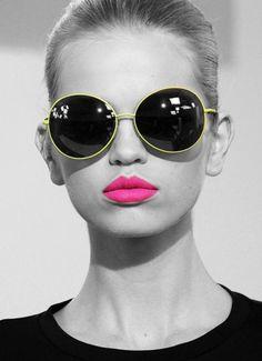 #pink #lips #sunglasses