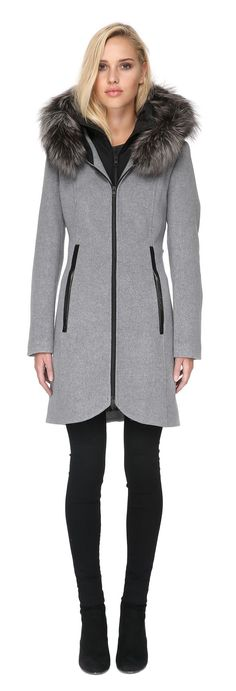 CHARLENA-FX slim-fit wool coat with removable bib in ash