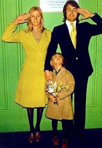Paul & Linda McCartney with daughter Heather on their wedding day at Marylebone Town Hall,  London.