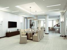 Lichtspots Integriertes-Licht abgehängte-Decke Lichtleiste-Led Esszimmer-Esstisch