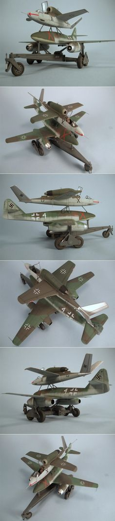 Dragon 1/48 He 162 Mistel - Heinkel He 162, Me 262 reconfigured to a drone aircraft with a new warhead nose cone.  http://www.network54.com/Forum/47751/message/1389915779/Dragon+1-48+He+162+Mistel