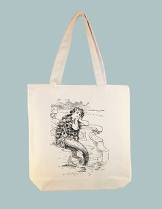 Beautiful Vintage Mermaid Illustration 15x15 Canvas Tote - larger zipper top tote and personalization available - image in ANY COLOR