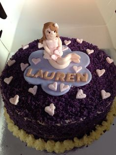 Ube macapuno cake with topper made out of fondant
