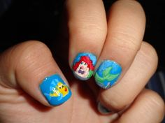 Ariel and Flounder (the Little Mermaid) by brimarie333 - Nail Art Gallery nailartgallery.nailsmag.com by Nails Magazine www.nailsmag.com #nailart