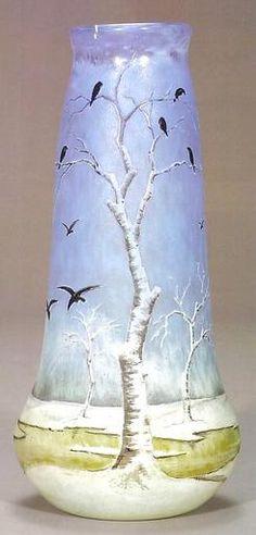 """Nancy Blackbird Vase - Enamel Signed """"Daum Nancy"""" with the Croix of Lorraine. Art Nouveau, Antique Art, Vintage Art, Vase Cristal, Art Of Glass, Cut Glass, Jugendstil Design, Vases, Crushed Glass"""