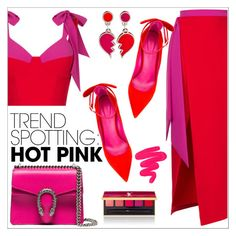 """Win It! NYFW Trend Spotting: Hot Pink 7"" by queenvirgo ❤ liked on Polyvore featuring Rasario, Oscar Tiye, Gucci, Yves Saint Laurent, Sigma, contestentry and NYFWHotPink"