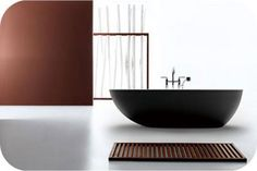 Available in matte white, matte black, gloss black and gloss red Cast stone bath Dimensions: x x Modern free standing bath Captivity asymm. Cheap Bathtubs, Cheap Bathrooms, Bathroom Toilets, Laundry In Bathroom, The Block Room Reveals, Ensuite Room, Stone Basin, Bathroom Tile Designs, Bathroom Ideas
