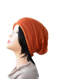 knit Slouchy Beanie hat Women man teen rust orange brown Accessories