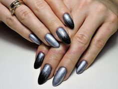 #gel #nails #almond #manicure #long # shining #silver #black