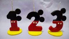 Velas personalizadas para cumpleaños infantil. Porcelana fria. Mickey mouse