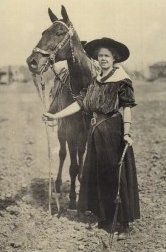 Lucille Mulhall was born on October 21, 1885. Lucille was a famous trick rider and first cowgirl act in The Wild West Show (with her famous horse, Governor).