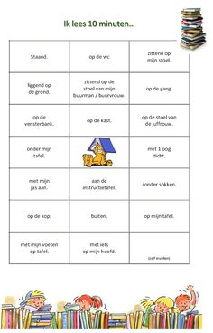 leesbingo: ik lees 10 minuten... Reading Bingo, Learn Dutch, Back 2 School, Classroom Language, Kids Writing, Creative Teaching, My Teacher, Speech And Language, Primary School